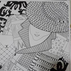 lady with the hat, 12 x 17 inch, tanya arora,drawings,figurative drawings,paintings for living room,ivory sheet,ink color,12x17inch,GAL039319010