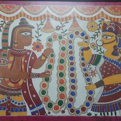 couple getting married, 29 x 22 inch, tanya arora,paintings,folk art paintings,paintings for living room,ivory sheet,acrylic color,29x22inch,GAL039319012