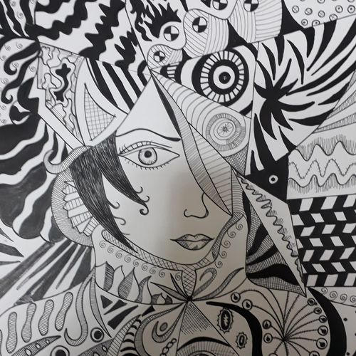 the big eye girl, 12 x 17 inch, tanya arora,drawings,figurative drawings,paintings for living room,ivory sheet,ink color,12x17inch,GAL039319014