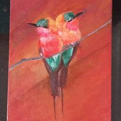 love birds, 6 x 8 inch, poojitha srinath,paintings,nature paintings,paintings for bedroom,canvas,acrylic color,6x8inch,GAL039049016Nature,environment,Beauty,scenery,greenery
