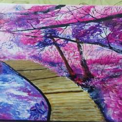 cherry blossoms, 12 x 9 inch, poojitha srinath,paintings,nature paintings,paintings for living room,canvas,acrylic color,12x9inch,GAL039049017Nature,environment,Beauty,scenery,greenery