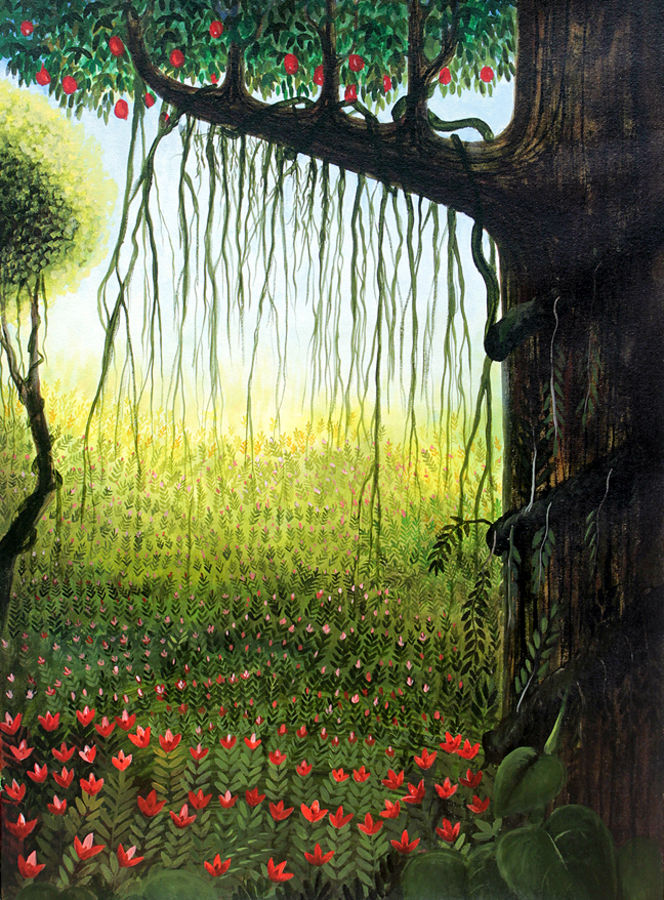 garden view, 24 x 33 inch, seby augustine,nature paintings,canvas,acrylic color,24x33inch,GAL0150905Nature,environment,Beauty,scenery,greenery
