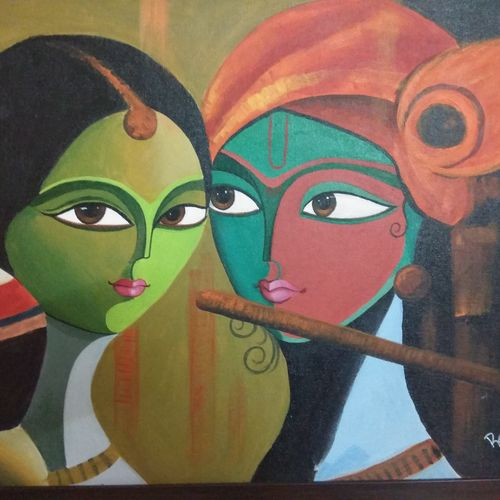 radha and krishna, 27 x 21 inch, reshma lokanathan,paintings,modern art paintings,paintings for living room,canvas,acrylic color,27x21inch,GAL039479051