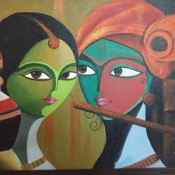 radha and krishna, 27 x 21 inch, reshma lokanathan,modern art paintings,paintings for living room,radha krishna paintings,canvas,acrylic color,27x21inch,GAL039479052,radha,krishna,love,lordkrishna,lordradha,flute,music,peace