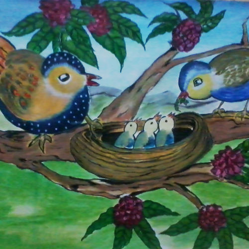 nest, 22 x 15 inch, kalpana  tambe,wildlife paintings,paintings for living room,renaissance watercolor paper,fabric,22x15inch,GAL024749058