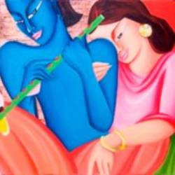 love of the hindu deities radha and krishna, 48 x 24 inch, deepali mundra,figurative paintings,religious paintings,paintings for living room,paintings for office,radha krishna paintings,love paintings,canvas,acrylic color,48x24inch,GAL0400906,radhakrishna,lordkrishna,lordradha,love,flute,music,couple,hinduloveheart,family,caring,happiness,forever,happy,trust,passion,romance,sweet,kiss,love,hugs,warm,fun,kisses,joy,friendship,marriage,chocolate,husband,wife,forever,caring,couple,sweetheart