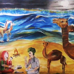 the camel family, 36 x 21 inch, kalpana  tambe,folk art paintings,paintings for dining room,canvas,acrylic color,36x21inch,GAL024749062