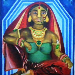 sadaa suhagan, 22 x 24 inch, kalpana  tambe,figurative paintings,paintings for dining room,canvas,acrylic color,22x24inch,GAL024749063