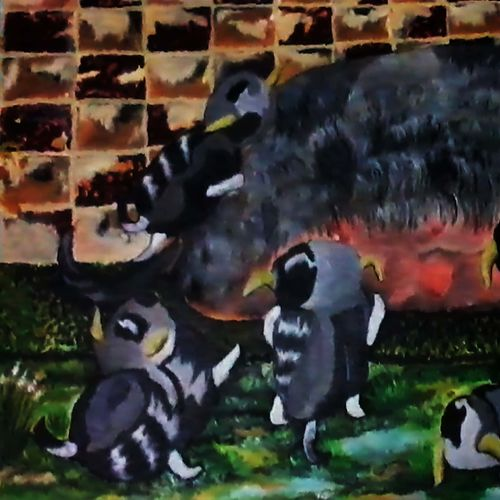 the pet family, 39 x 17 inch, kalpana  tambe,conceptual paintings,paintings for living room,canvas,acrylic color,39x17inch,GAL024749065