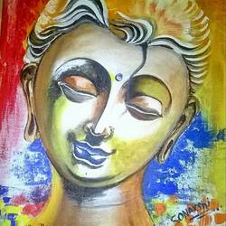 relaxing buddha , 10 x 12 inch, sonali kaushik,paintings,buddha paintings,paintings for living room,canvas,acrylic color,10x12inch,religious,peace,meditation,meditating,gautam,goutam,buddha,yellow,face,GAL039409076