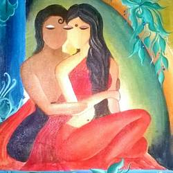 together , 16 x 20 inch, sonali kaushik,paintings,figurative paintings,paintings for bedroom,canvas,acrylic color,16x20inch,GAL039409077