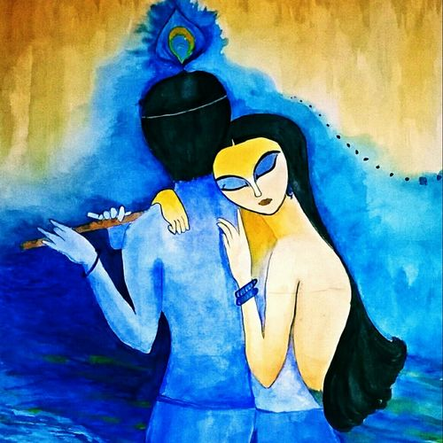 devine love , 20 x 30 inch, sonali kaushik,paintings,figurative paintings,paintings for living room,renaissance watercolor paper,ink color,20x30inch,GAL039409078