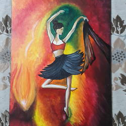 dancing beauty, 12 x 16 inch, vaishali kapur,paintings,figurative paintings,paintings for living room,canvas board,acrylic color,12x16inch,GAL039589079