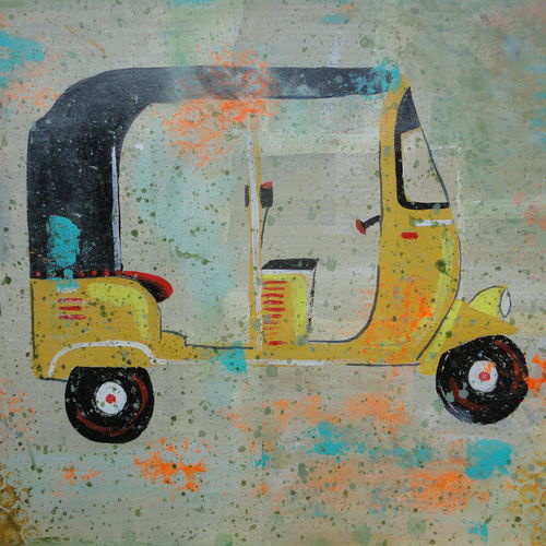 indian tuk tuk / auto, 19 x 13 inch, amita dand,paintings,contemporary paintings,paintings for living room,canvas,mixed media,19x13inch,GAL014679095