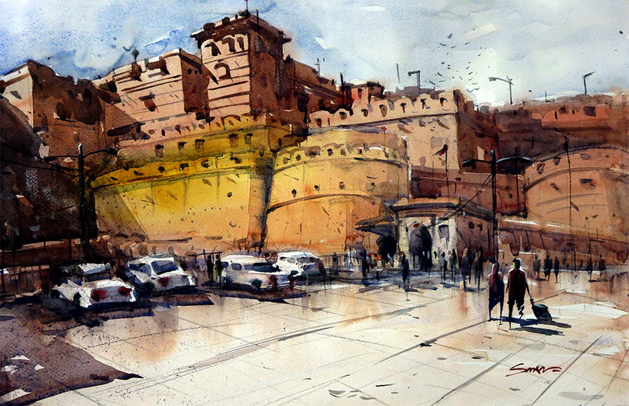 jaisalmer, 21 x 15 inch, sankar thakur,landscape paintings,paintings for living room,fabriano sheet,watercolor,21x15inch,GAL0791