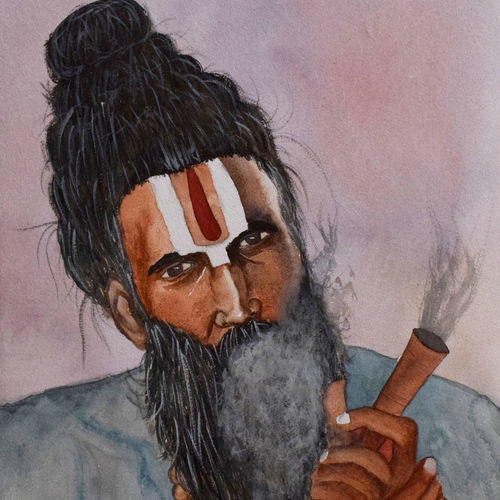 sadhu from kumbh mela , 15 x 21 inch, saurabh jathar,paintings,portrait paintings,paintings for living room,handmade paper,watercolor,15x21inch,GAL039649105