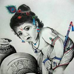 sketch, 20 x 25 inch, ruchita jain,drawings,radha krishna drawings,cartridge paper,charcoal,20x25inch,GAL039679115