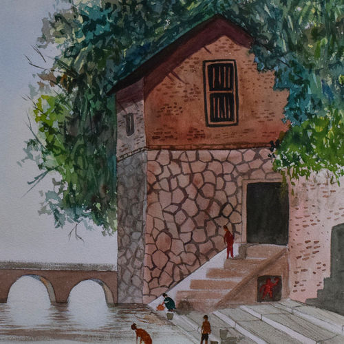 wai ghats, 15 x 21 inch, saurabh jathar,paintings,landscape paintings,paintings for living room,handmade paper,watercolor,15x21inch,GAL039649120