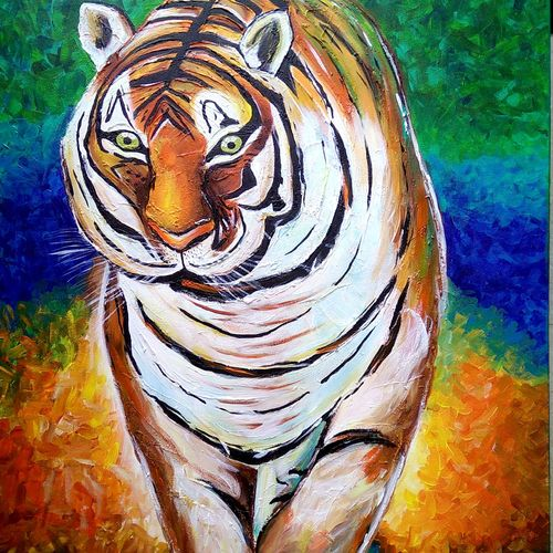 3d tiger, 25 x 32 inch, siddhi munot,paintings,wildlife paintings,paintings for living room,canvas,acrylic color,25x32inch,GAL039389126