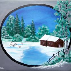 snow nature, 22 x 20 inch, siddhi munot,paintings,landscape paintings,paintings for living room,canvas,acrylic color,22x20inch,GAL039389127