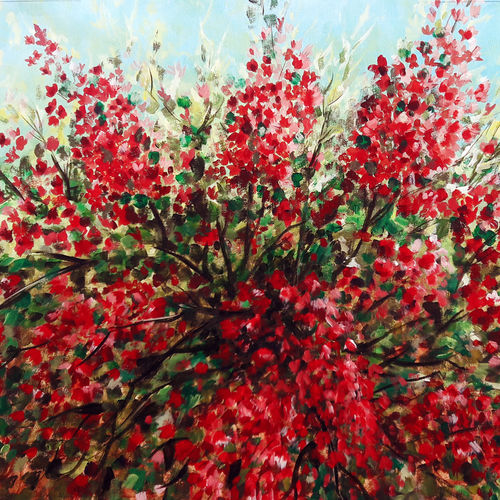blossom, 21 x 27 inch, seby augustine,nature paintings,paintings for living room,canvas,acrylic color,21x27inch,GAL0150913Nature,environment,Beauty,scenery,greenery