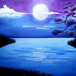moon, 30 x 21 inch, siddhi munot,paintings,landscape paintings,paintings for living room,canvas,acrylic color,30x21inch,GAL039389130