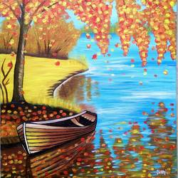 nature, 19 x 24 inch, siddhi munot,paintings,nature paintings,paintings for living room,canvas,acrylic color,19x24inch,GAL039389131Nature,environment,Beauty,scenery,greenery,beautiful,trees,water,mountain,sunrise,leaves,boat,sailing,people