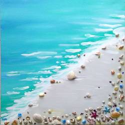 original sea shells, 20 x 20 inch, siddhi munot,paintings,realistic paintings,paintings for living room,canvas,acrylic color,20x20inch,GAL039389135