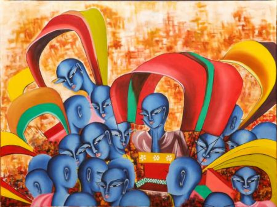celebration of colours, 30 x 24 inch, deepali mundra,figurative paintings,paintings for dining room,paintings for office,canvas,acrylic color,30x24inch,GAL0400914