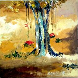creative landscape 1, 17 x 17 inch, swapnil katyare,landscape paintings,paintings for dining room,square,canvas,oil,17x17inch,GAL039659145