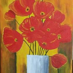 acrylic on canvas - poppy flowers, 8 x 16 inch, deepti dabral,flower paintings,paintings for living room,canvas,acrylic color,8x16inch,GAL039749152