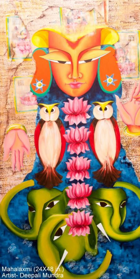 mahalakshmi, 24 x 48 inch, deepali mundra,figurative paintings,religious paintings,paintings for dining room,paintings for office,canvas,acrylic color,24x48inch,GAL0400916