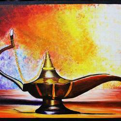 aladdin's lamp , 26 x 18 inch, amey  m,paintings,still life paintings,paintings for living room,canvas,acrylic color,26x18inch,GAL039789160
