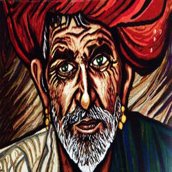 old man, 63 x 37 inch, puja bhakoo,figurative paintings,paintings for living room,canvas,mixed media,63x37inch,GAL039779161