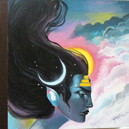 lord shiva, 20 x 20 inch, amey  m,art deco paintings,paintings for living room,lord shiva paintings,canvas,acrylic color,20x20inch,GAL039789162