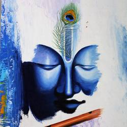 lord krishna, 30 x 20 inch, amey  m,religious paintings,paintings for living room,radha krishna paintings,canvas,acrylic color,30x20inch,GAL039789163,krishna,Lord krishna,krushna,flute,peacock feather,melody,peace,religious,god,love