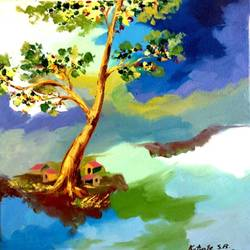 creative landscape 2, 17 x 17 inch, swapnil katyare,paintings for dining room,square,nature paintings,canvas,oil,17x17inch,GAL039659164Nature,environment,Beauty,scenery,greenery,landscape,trees,houses
