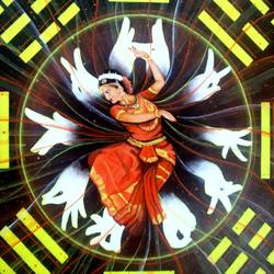 depth of bharatanatyam, 18 x 18 inch, colorful art arts and crafts,art deco paintings,paintings for living room,canvas,acrylic color,18x18inch,GAL0393917