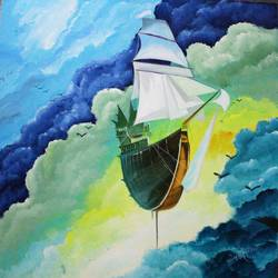 ship, 26 x 26 inch, amey  m,paintings,landscape paintings,paintings for office,canvas,acrylic color,26x26inch,GAL039789170