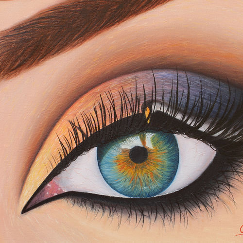 eye of usha - the goddess of dawn , 17 x 12 inch, goutami mishra,figurative paintings,paintings for bedroom,canvas,oil,17x12inch,GAL04659174