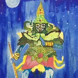 yaksha , 15 x 17 inch, jyothi navada,paintings for living room,figurative paintings,canvas,acrylic color,15x17inch,GAL0529176