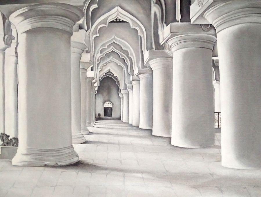 thirumalai nayakar mahal, 20 x 26 inch, colorful art arts and crafts,photorealism paintings,paintings for living room,canvas,acrylic color,20x26inch,GAL0393918