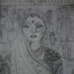 bride, 8 x 11 inch, kalpana  tambe,expressionist drawings,paintings for living room,paper,pencil color,8x11inch,GAL024749180
