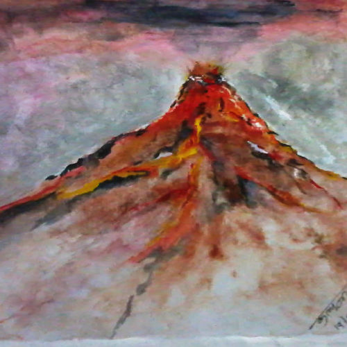 mountain , 6 x 6 inch, kalpana  tambe,nature paintings,paintings for living room,paper,watercolor,6x6inch,GAL024749182Nature,environment,Beauty,scenery,greenery,mountain,clouds,fog
