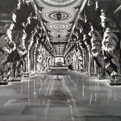 aayiram kaal mandapam, 20 x 26 inch, colorful art arts and crafts,photorealism,paintings for living room,modern art paintings,religious paintings,canvas,acrylic color,20x26inch,GAL0393919