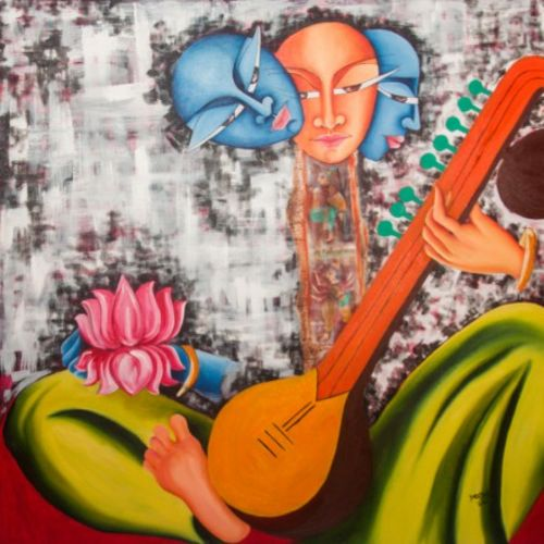 inception, 36 x 36 inch, deepali mundra,figurative paintings,paintings for dining room,paintings for living room,paintings for bedroom,canvas,acrylic color,36x36inch,GAL0400921