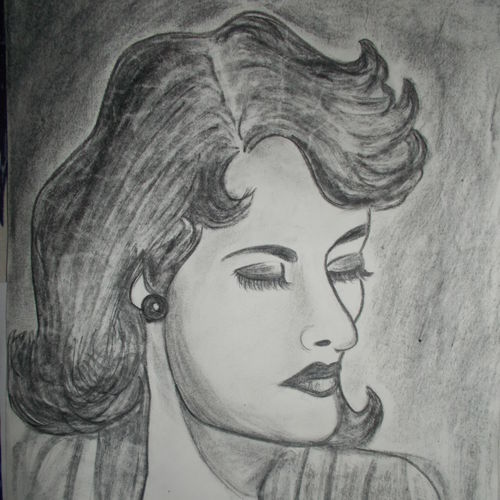 girl's portrait, 12 x 16 inch, kajal  sharma,drawings,portrait drawings,paintings for dining room,thick paper,charcoal,12x16inch,GAL035729221
