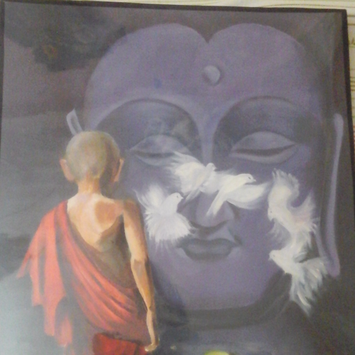 buddha, 30 x 40 inch, shardha jodh,buddha paintings,paintings for living room,canvas,oil,30x40inch,religious,peace,meditation,meditating,gautam,goutam,buddha,blue,birds,monk,giving blessing,praying,GAL040249226
