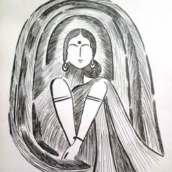 waiting, 12 x 20 inch, shuchita srivastava,drawings,abstract drawings,paintings for living room,paper,ink color,12x20inch,GAL039849230