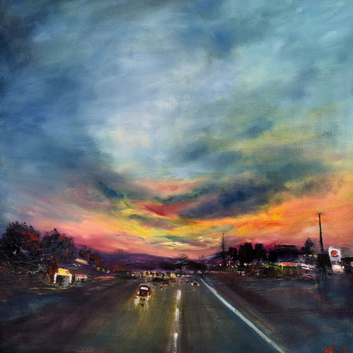 skies at dusk, 24 x 24 inch, vandana mehta,paintings,contemporary paintings,paintings for living room,canvas,oil,24x24inch,GAL040239234